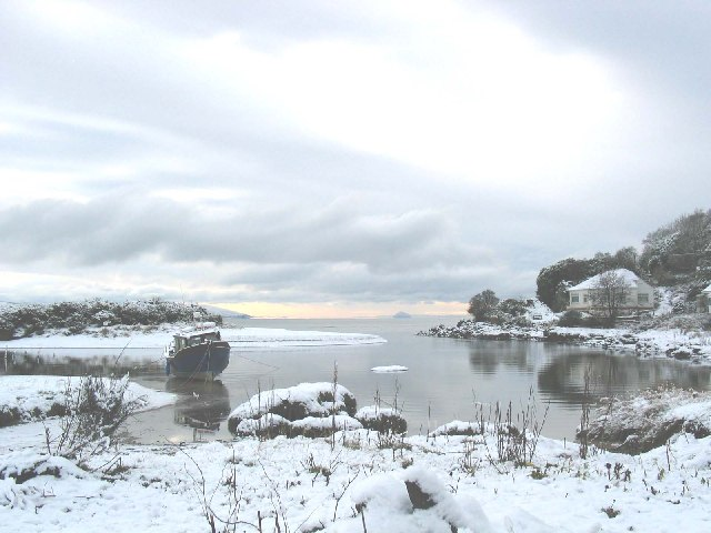 Snowy day Waterfoot looking towards Ailsa Craig