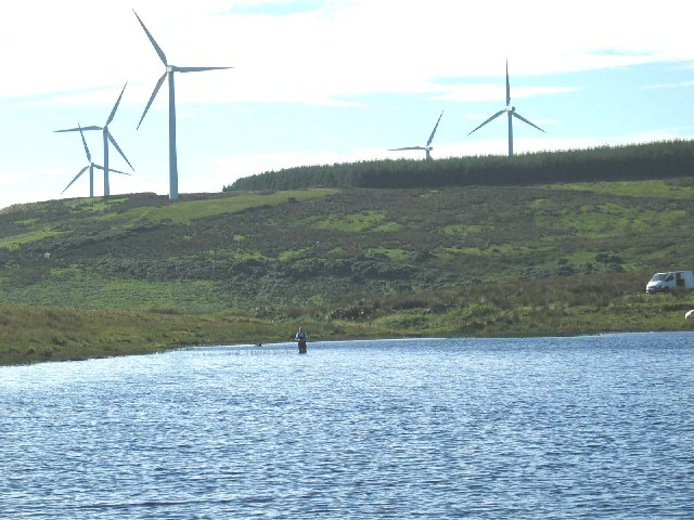 Tangy Loch and Windfarm in background,Kintyre