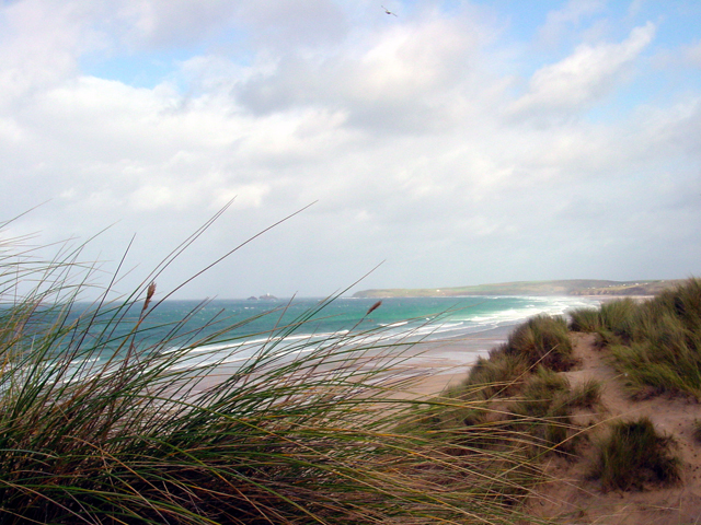 Dunes & beach at Phillack Towans, Godrevy Point and Island in the distance