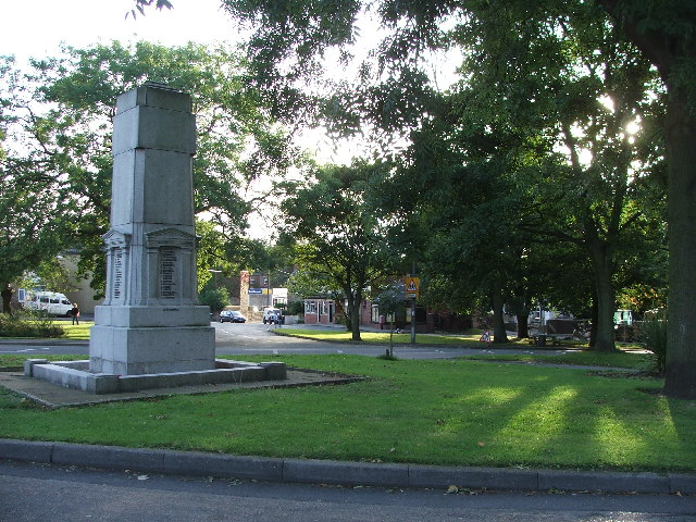 Gildersome Green and War memorial.
