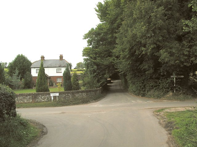 Junction between Whites Hill and Hensting Lane
