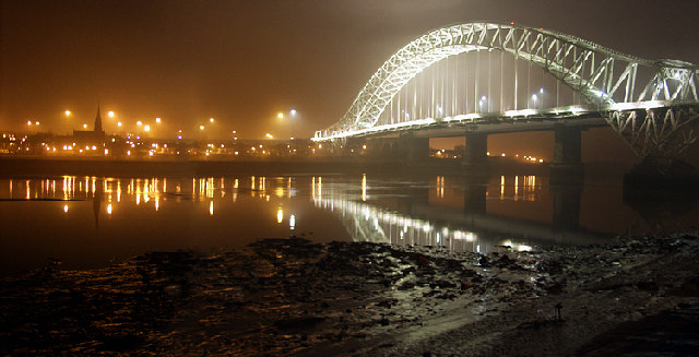 Runcorn Bridge at night