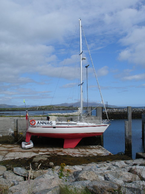 Annag yacht on the slip at Berneray harbour