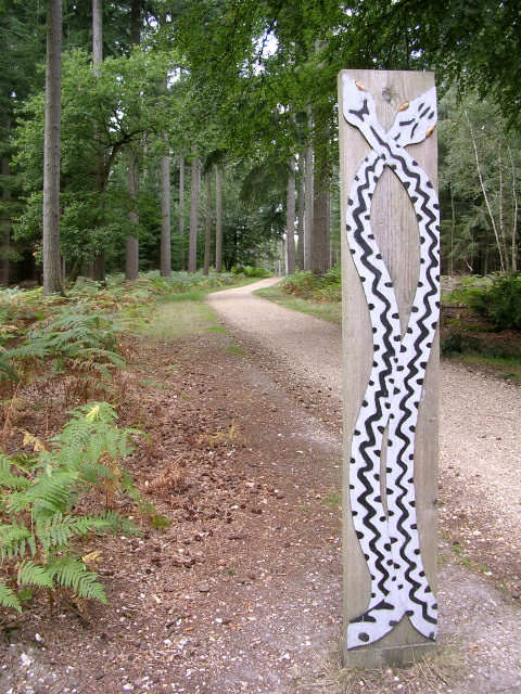 Route marker on the Snake Trail, Holidays Hill, New Forest