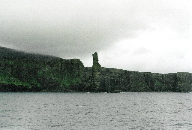 Old Man of Hoy, and cliffs, from Scrabster ferry
