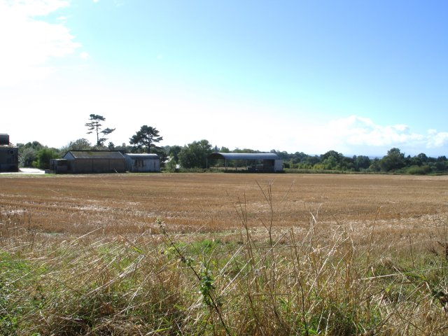 Farm buildings and field