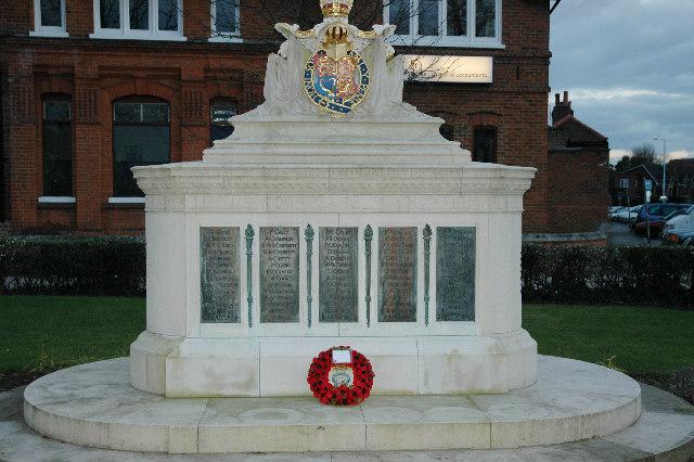 Walton War Memorial at dusk