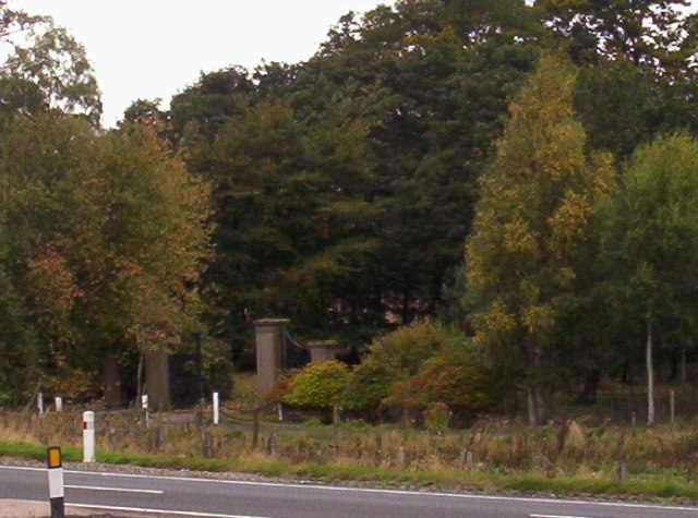 The gate to Careston Castle from the A90