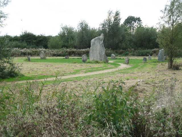 Stone circle on Mallards Way at entrance to estate from London Road