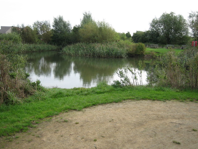 Pond between old and new Langford Village