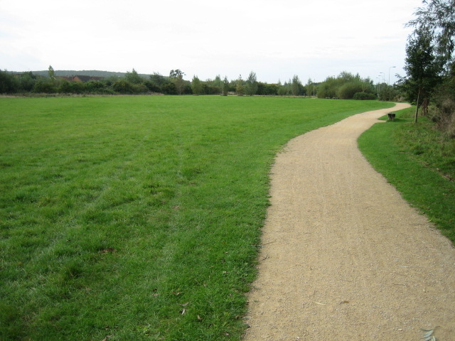 Path between old and new Langford Village
