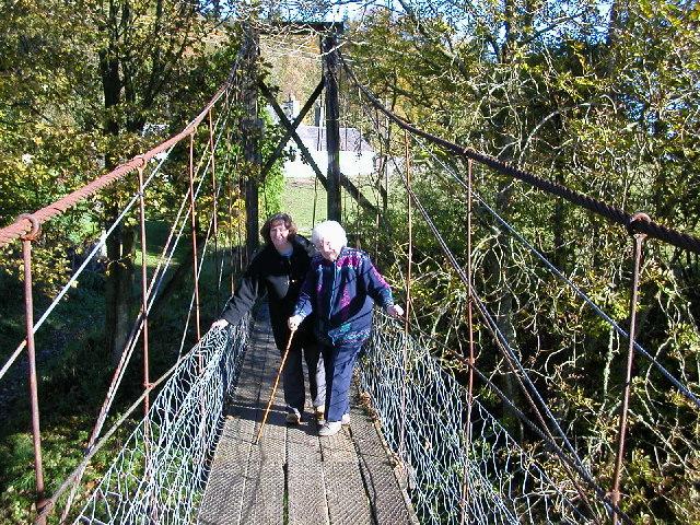Old cable bridge bridge crossing the Ettrick Water.