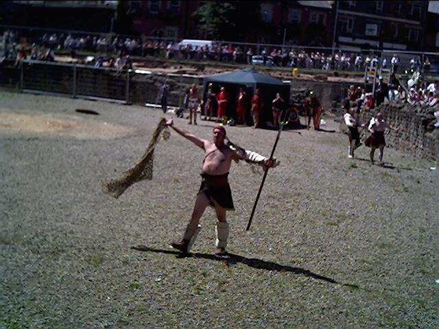 Gladiator fight in Chester Amphitheatre