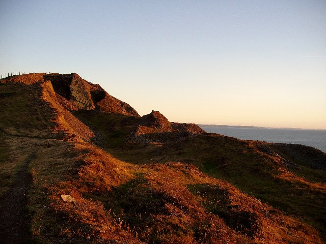 Cliffs south of Aberystwyth at sunset