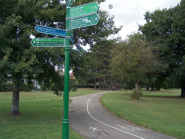 Footpaths across Cator Park, Beckenham.