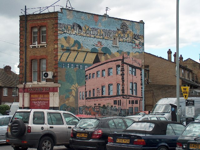 Mural on the back wall of the Hollywood East pub, Station Road, Penge.
