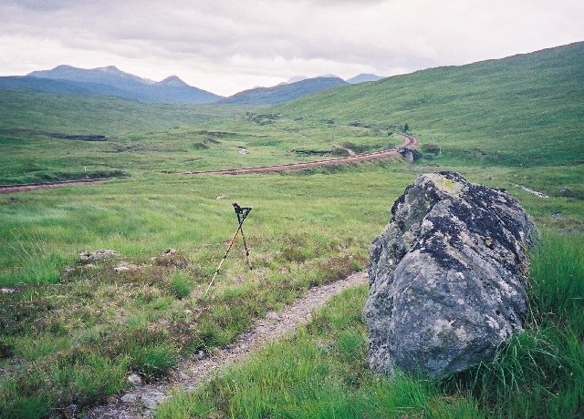 The path from Loch Ossian to Loch Treig near the railway line