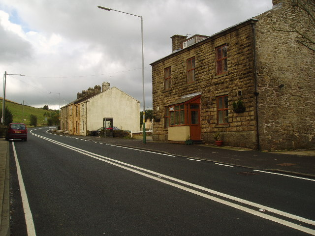 Roadside houses on the A 680 at Turn Village, Lancashire