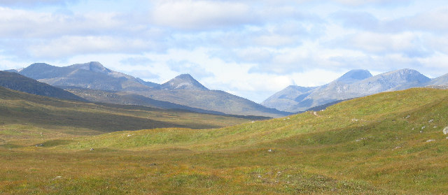 The Mamores, The Grey Corries and Ben Nevis from the Loch Ossian, Loch Treig Track