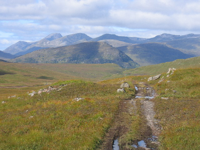 Looking north west on the Loch Ossian to Loch Treig track