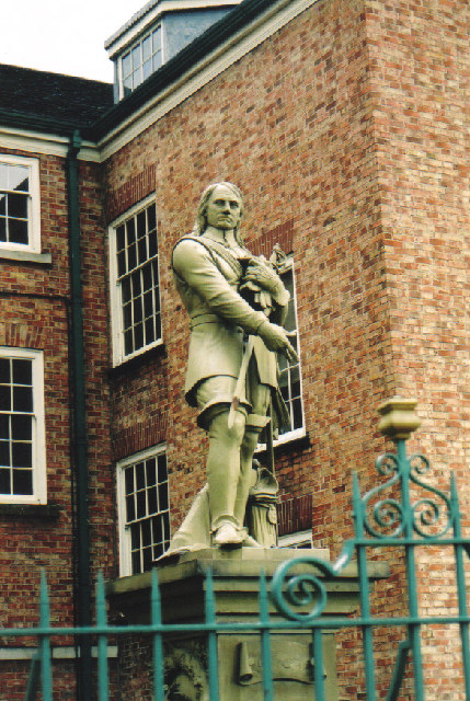 Statue of Oliver Cromwell in the grounds of The Academy