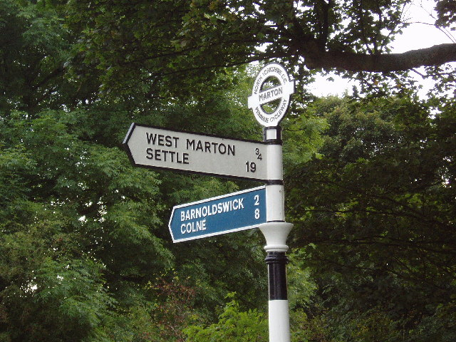 Signpost on South Field Bridge, near Barnoldswick, Yorkshire