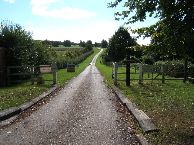 Entrance to private road leading across Leatherhead Downs to Cherkley Court