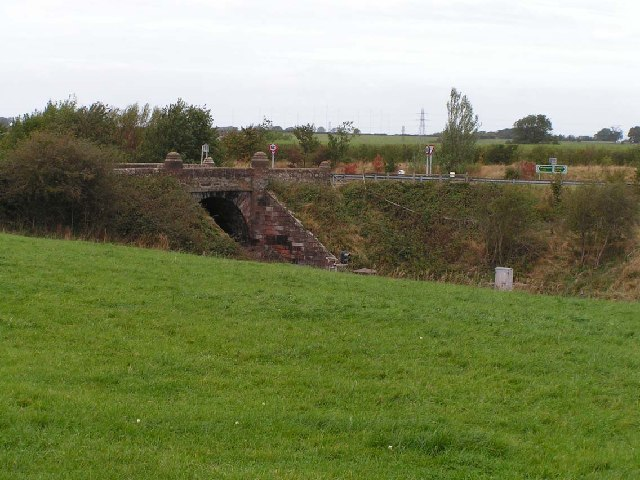 Railway bridge and road junction to the east of Wigton