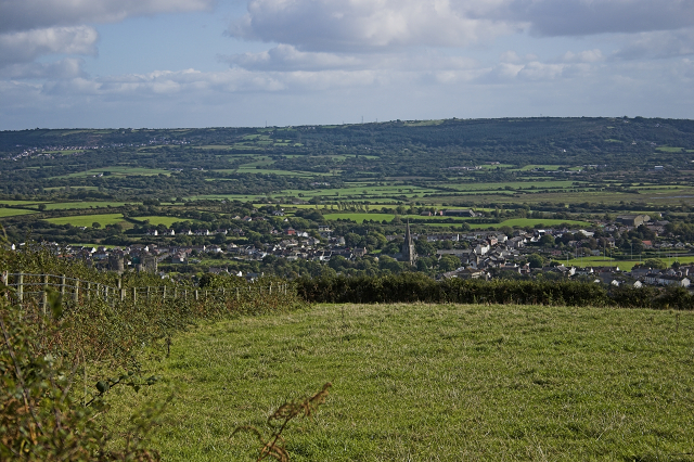 Hillside view of Kidwelly and Trimsaran