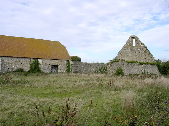 Ruined medieval barn at St Leonard's Grange, Beaulieu, New Forest