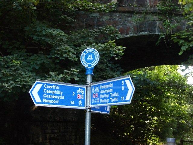 The Taff Trail Junction of National Cycleway Routes 4 and 8.