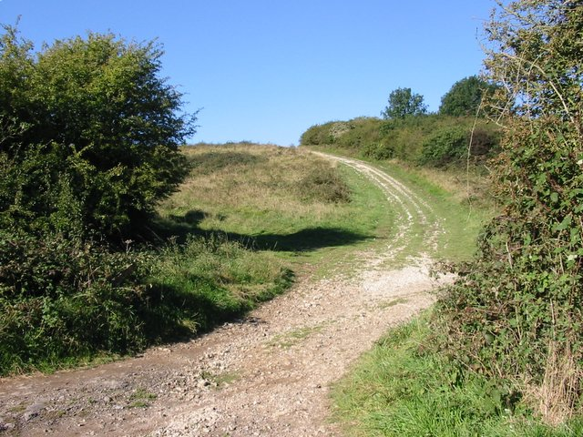 "A bridleway climbs steeply out of ""No Man's Land"""