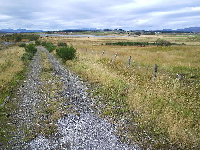 The Old Road crossing the edge of Loch Shin