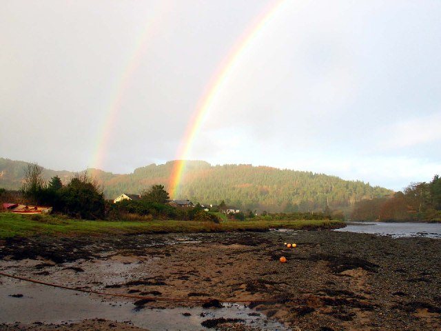 Double rainbow over Waterfoot by Carradale, Kintyre.