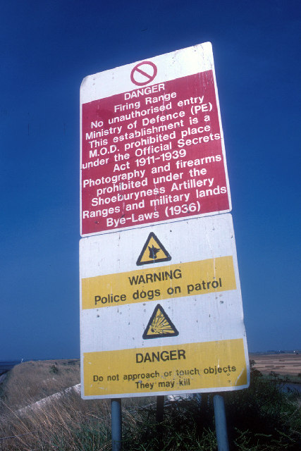 Official Secrets Act warning sign on quayside at Crouch Corner, Foulness, Essex