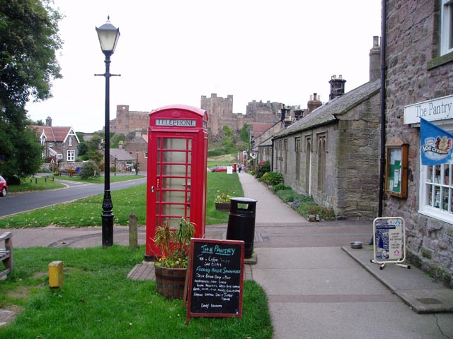 Red telephone box in Bamburgh