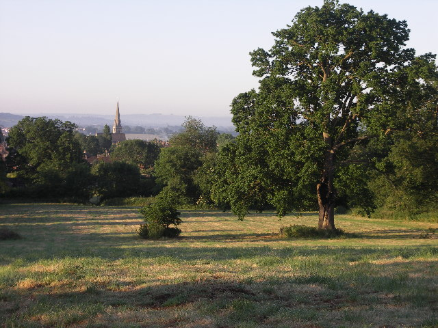 View over fields towards St Paul's church, Chippenham