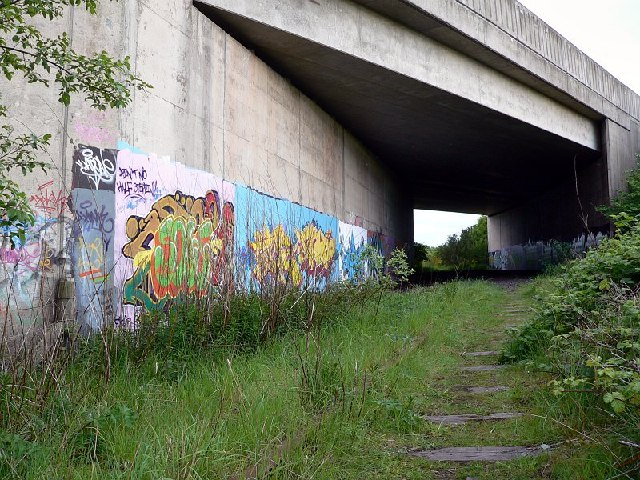 Graffiti as an old railway passes under the Edinburgh Bypass
