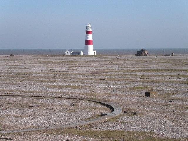 Shingle ridges and lighthouse on Orford Ness