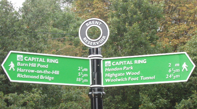 Sign for Capital Ring walking route at Brent Reservoir