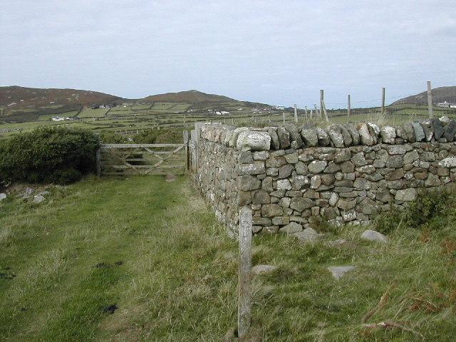 Sheep Fold and Pilgrims Way near Pen Y Cil