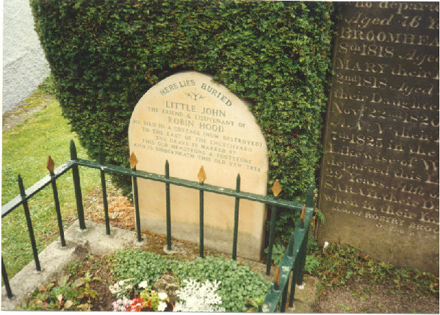 Little John's grave at parish church of St Michael in Hathersage