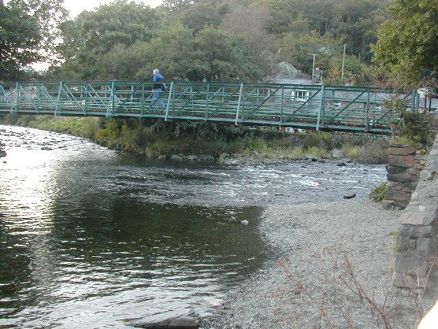 River confluence and footbridge in Beddgelert
