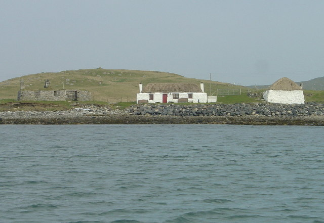 Berneray Hostel from Port Ludaig channel