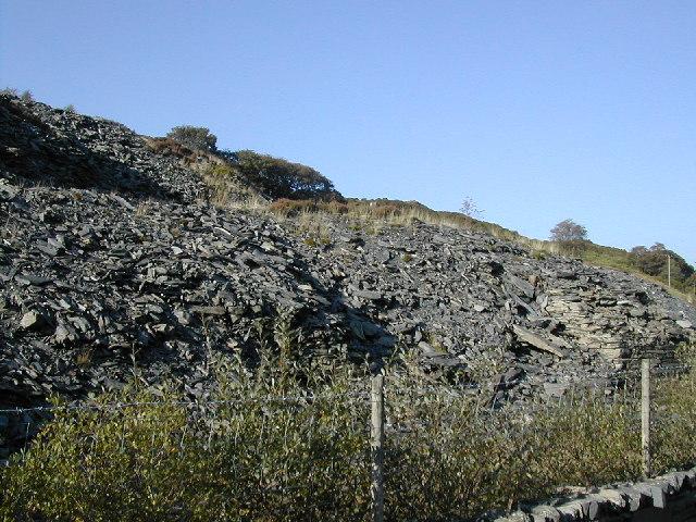 Slate dump at disused quarry, Blaen Nanmor
