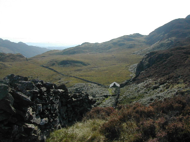 Dry stone wall and isolated cottage at Mynydd Llyndy