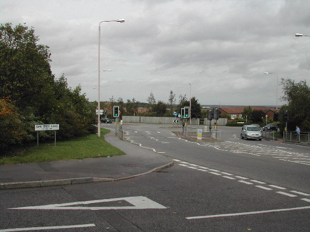 junction of Oaktree Lane and Jubilee Way, Mansfield