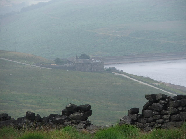 Buildings next to Withens Clough Reservoir.