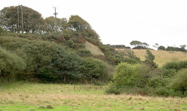 Spoil heap on the valley side