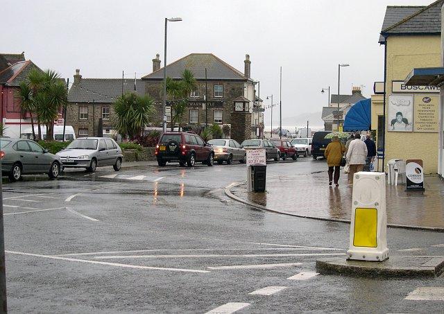 Perranporth town centre in the rain.